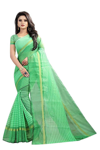 Green Color Chanderi Cotton Saree  - Chanderi-Cotton-5