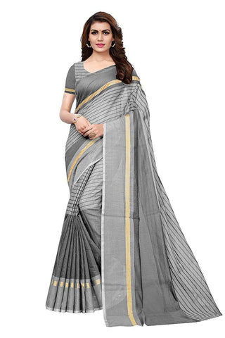 Grey Color Chanderi Cotton Saree  - Chanderi-Cotton-6