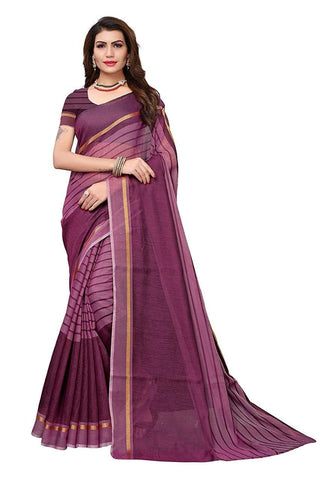 Purple Color Chanderi Cotton Saree  - Chanderi-Cotton-7