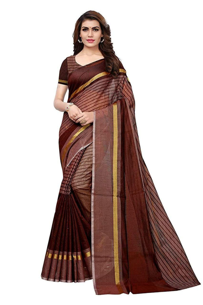Buy Navy Blue Color Chanderi Cotton Saree