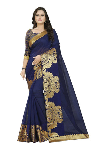 Navy Blue Color Chanderi Saree - Chanderi-Peacock-NavyBlue