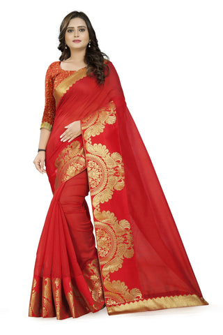 Red Color Chanderi Saree - Chanderi-Peacock-Red