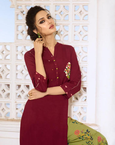 Maroon Color Rayon Silk Stitched Salwar Kameez - Charmie-1121
