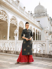 Black Color Rayon Silk Stitched Salwar Kameez - Charmie-1122