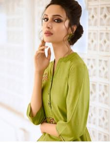 Light Green Color Rayon Silk Stitched Salwar Kameez - Charmie-1123