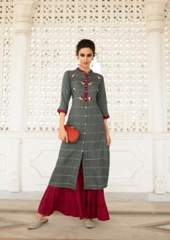 Grey Color Rayon Silk Stitched Salwar Kameez - Charmie-1124