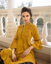 Mustard Color Rayon Silk Stitched Salwar Kameez - Charmie-1126