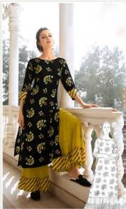 Black Color Rayon Silk Stitched Salwar Kameez - Charmie-1127