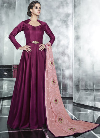 Wine Color Polina Silk Satin Stitched Salwar - Cheery-7001