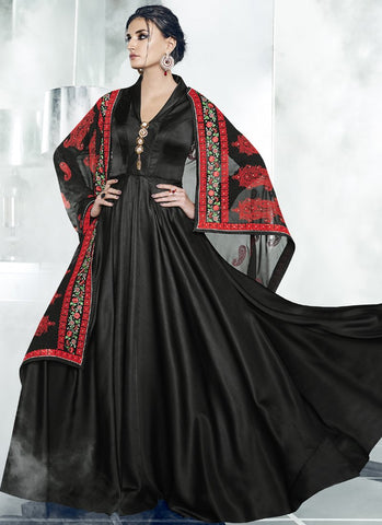 Black Color Polina Silk Satin Stitched Salwar - Cheery-7006