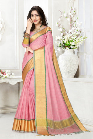 Peach Color Cotton Kota Doria Saree - Cheks-dark gajari