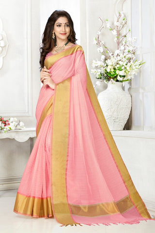 Pink Color Cotton Kota Doria Saree - Cheks-light pink