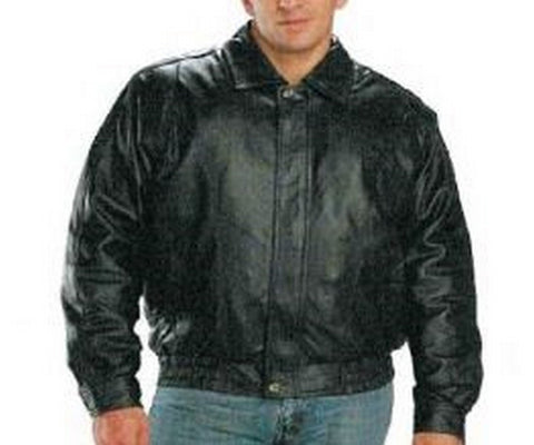 FRANCHISE CLUB Black Color Sheep Nappa Leather Mens Jacket - Classic-Bomber