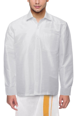 White Color Soft Art Silk Dupion Mens Shirt - Col101