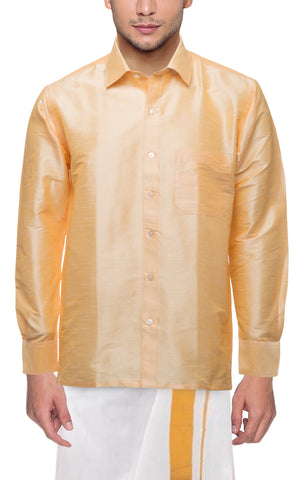 Chandan Color Soft Art Silk Dupion Mens Shirt - Col104