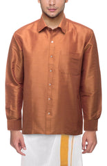 Buy Jaggery Color Art Silk Dupion Mens Shirt