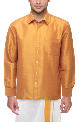 Gold Color Soft Art Silk Dupion Mens Shirt - Col106