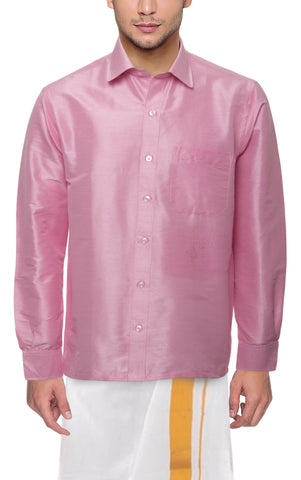 Light Pink Color Soft Art Silk Dupion Mens Shirt - Col108
