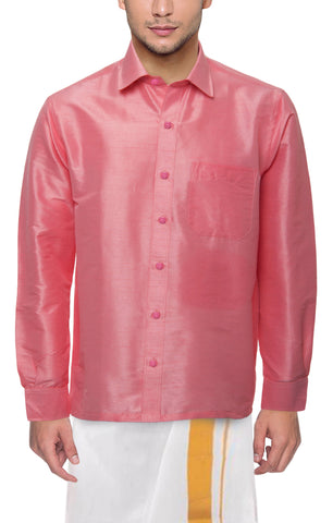 Pink Color Soft Art Silk Dupion Mens Shirt - Col111