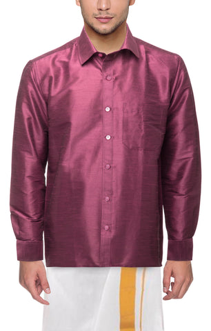 Dark Strawberry Color Soft Art Silk Dupion Mens Shirt - Col112