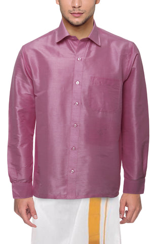 Light Strawberry Color Soft Art Silk Dupion Mens Shirt - Col114