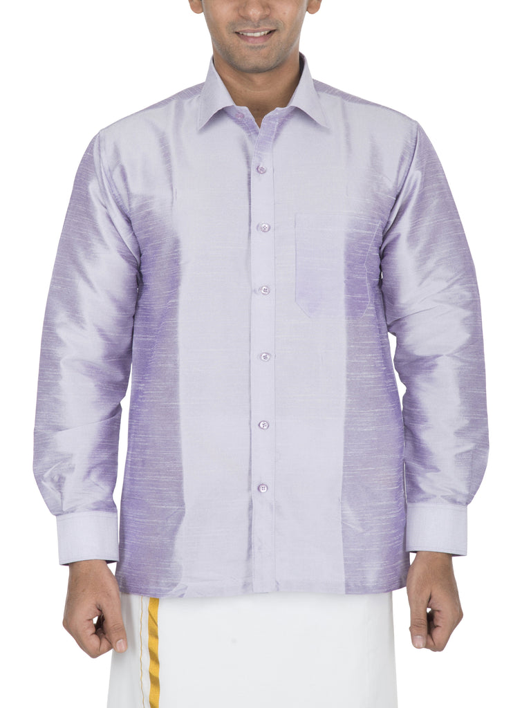 Buy Light Lilac Color Art Silk Dupion Mens Shirt