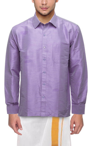 Lilac Color Soft Art Silk Dupion Mens Shirt - Col116