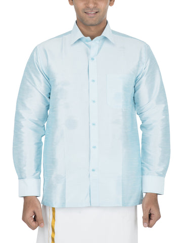 Sea Blue Color Soft Art Silk Dupion Mens Shirt - Col117
