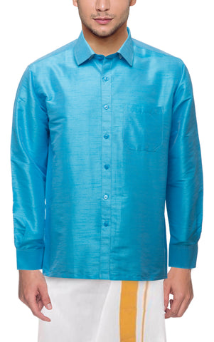 Sky Blue Color Soft Art Silk Dupion Mens Shirt - Col118
