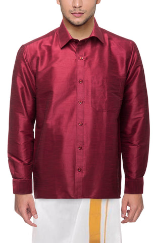 Magenta Color Soft Art Silk Dupion Mens Shirt - Col122
