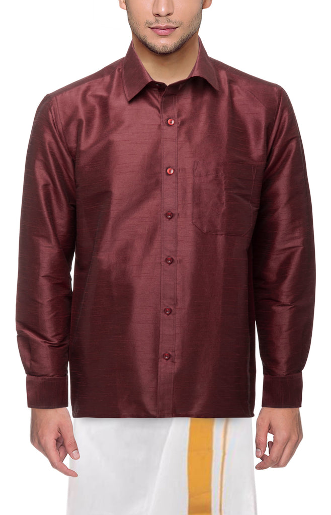 Buy Wine Color Art Silk Dupion Mens Shirt