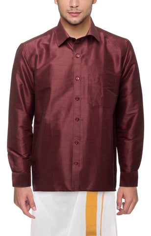 Wine Color Soft Art Silk Dupion Mens Shirt - Col124