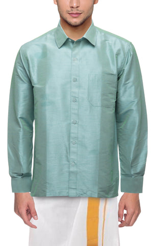 Light Pista Color Soft Art Silk Dupion Mens Shirt - Col126