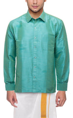 Buy Light Green Color Art Silk Dupion Mens Shirt