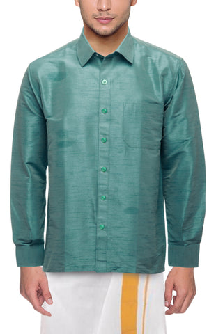 Dark Pista Color Soft Art Silk Dupion Mens Shirt - Col128