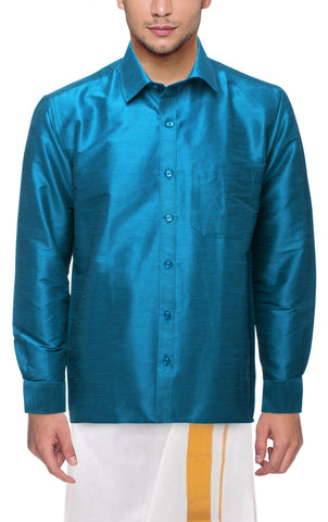 Dark Ananda Color Soft Art Silk Dupion Mens Shirt - Col130