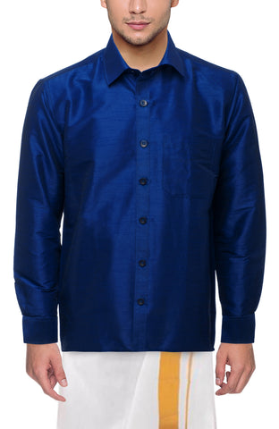 Navy Blue Color Soft Art Silk Dupion Mens Shirt - Col135