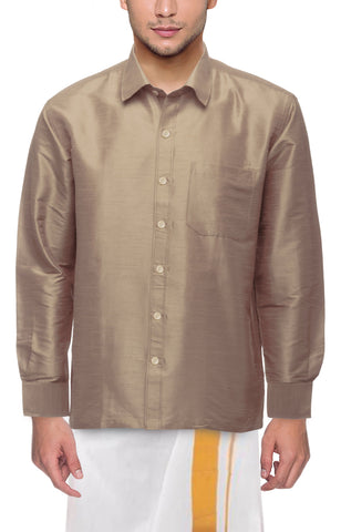 Biscuit Color Soft Art Silk Dupion Mens Shirt - Col138