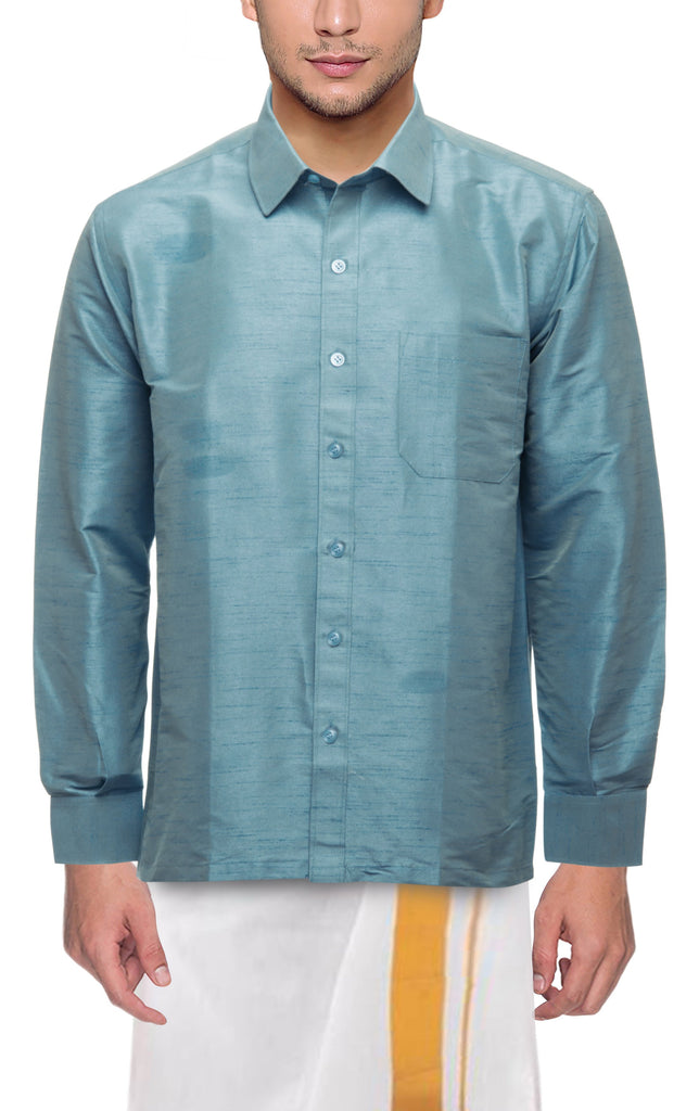 Buy Pista Color Art Silk Dupion Mens Shirt