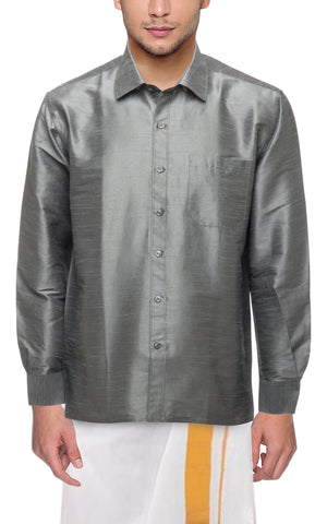 Steel Grey Color Soft Art Silk Dupion Mens Shirt - Col140