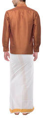 Jaggery Color Soft Art Silk Dupion Mens Shirt - Col105