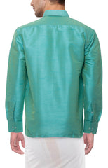 Light Green Color Soft Art Silk Dupion Mens Shirt - Col127