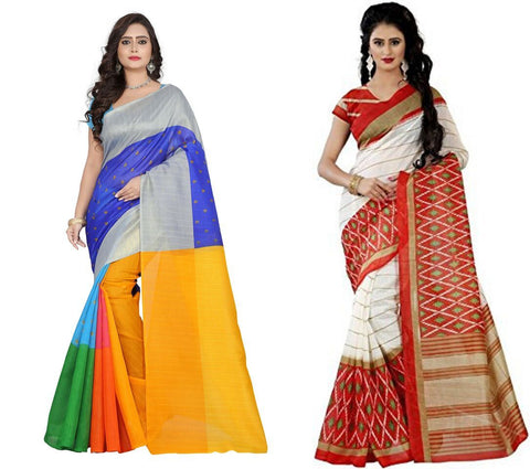 Bhagalpuri Combo Sarees - Colourfull-Orange