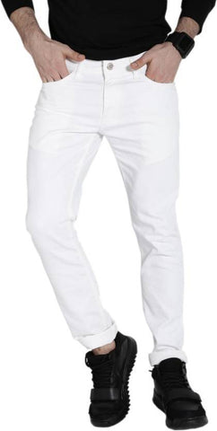 Halogen Skinny Men's White Denim Jeans - CopperStone-Jeans-BNG003