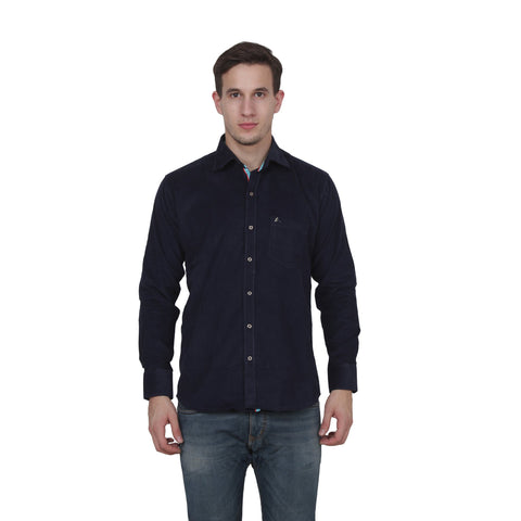 Blue Color Cotton Blend Slim Fit Shirts - Cotto.Blue