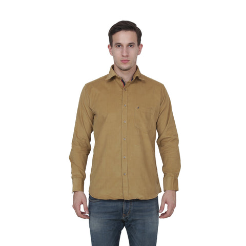 Cream Color Cotton Blend Slim Fit Shirts - Cotto.Creame