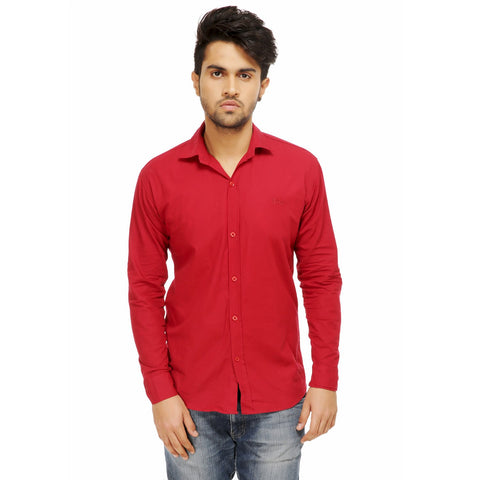 Red Color Cotton Blend Slim Fit Shirts - Cotto.Red