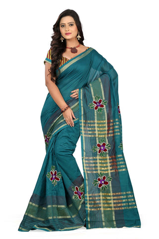 Sea Blue Color Poly Cotton Saree - Cotton01