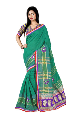 Green Color Poly Cotton Saree - Cotton02