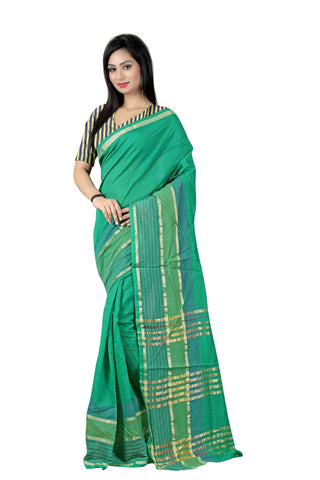 Green Color Poly Cotton Saree - Cotton03
